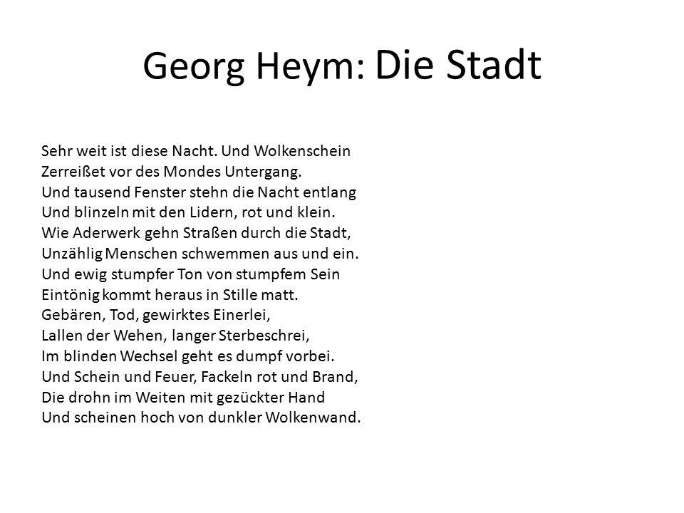 Alfred Liechtenstein: Die Stadt Ein weißer Vogel ist der große Himmel.