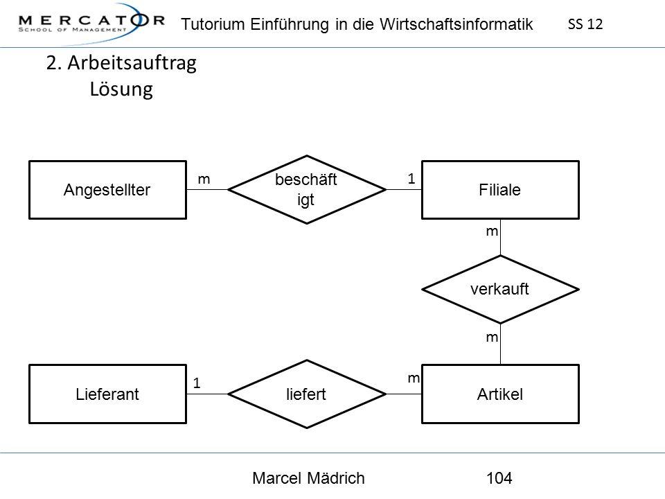 Tutorium Einführung in die Wirtschaftsinformatik SS 12 Marcel Mädrich104 2.