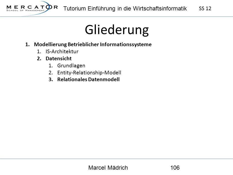 Tutorium Einführung in die Wirtschaftsinformatik SS 12 Marcel Mädrich106 Gliederung 1.Modellierung Betrieblicher Informationssysteme 1.IS-Architektur 2.Datensicht 1.Grundlagen 2.Entity-Relationship-Modell 3.Relationales Datenmodell