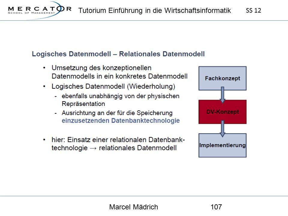 Tutorium Einführung in die Wirtschaftsinformatik SS 12 Marcel Mädrich107