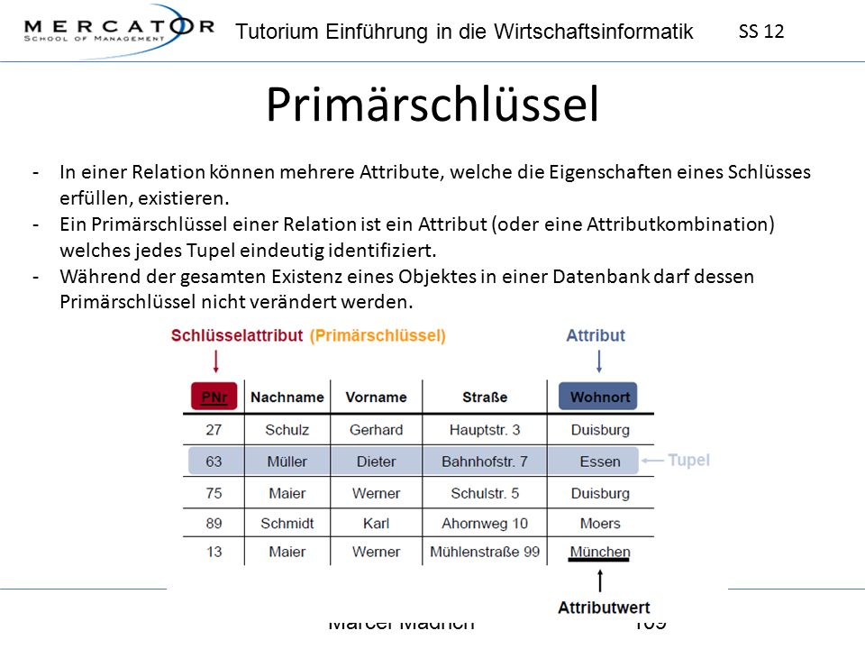 Tutorium Einführung in die Wirtschaftsinformatik SS 12 Marcel Mädrich109 Primärschlüssel -In einer Relation können mehrere Attribute, welche die Eigenschaften eines Schlüsses erfüllen, existieren.