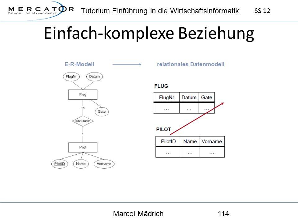Tutorium Einführung in die Wirtschaftsinformatik SS 12 Marcel Mädrich114 Einfach-komplexe Beziehung