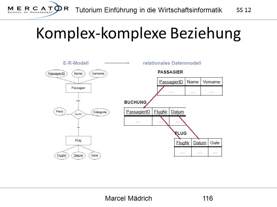 Tutorium Einführung in die Wirtschaftsinformatik SS 12 Marcel Mädrich116 Komplex-komplexe Beziehung