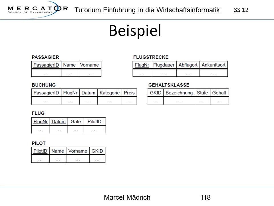 Tutorium Einführung in die Wirtschaftsinformatik SS 12 Marcel Mädrich118 Beispiel