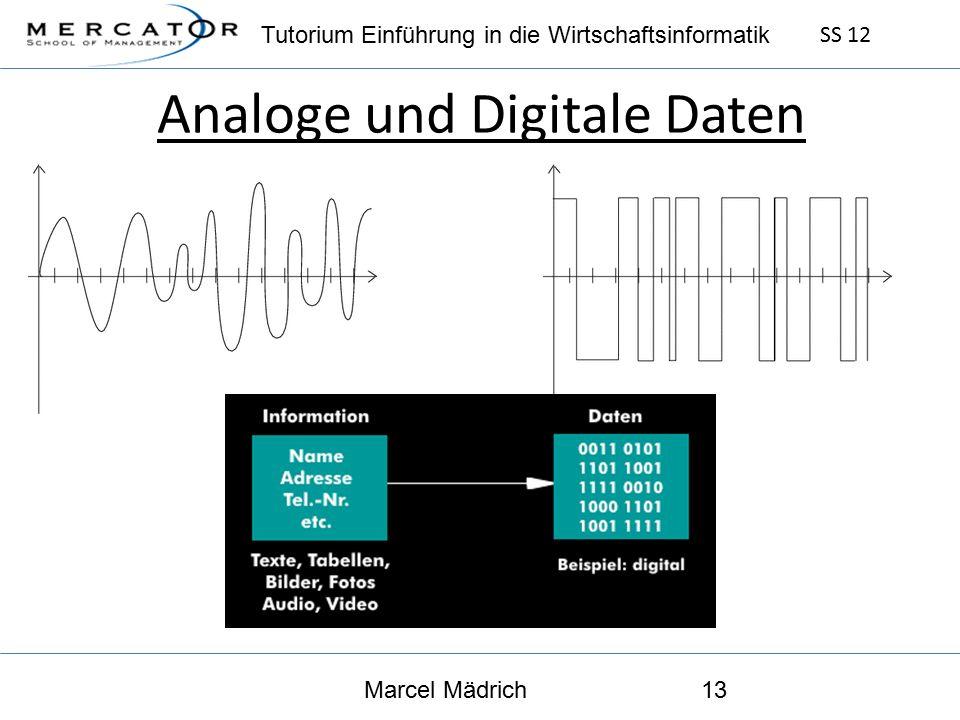 Tutorium Einführung in die Wirtschaftsinformatik SS 12 Marcel Mädrich13 Analoge und Digitale Daten