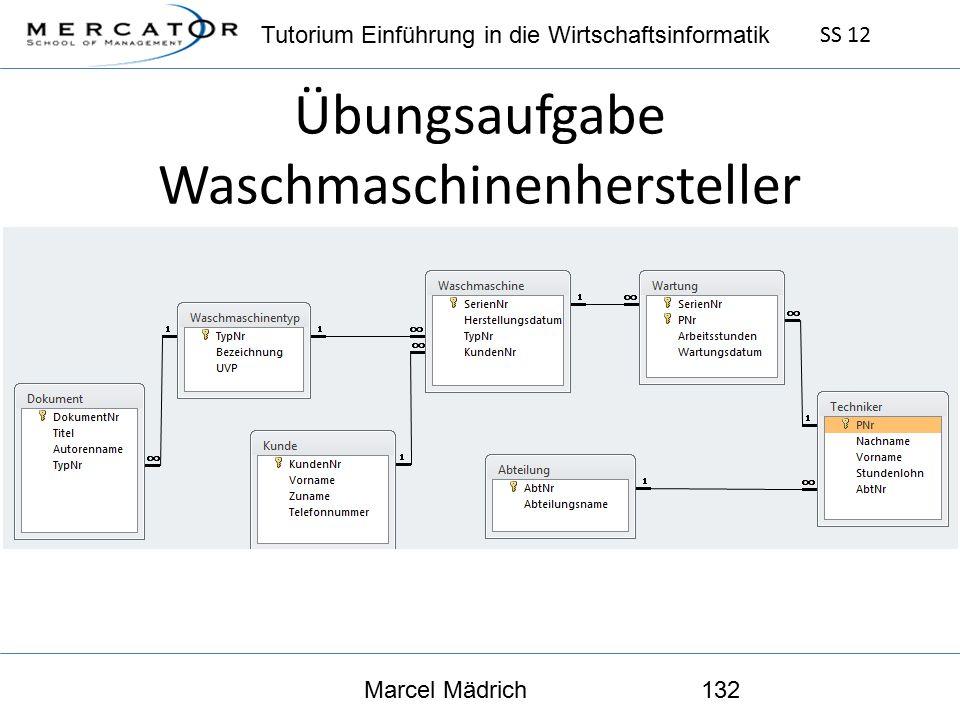 Tutorium Einführung in die Wirtschaftsinformatik SS 12 Marcel Mädrich132 Übungsaufgabe Waschmaschinenhersteller