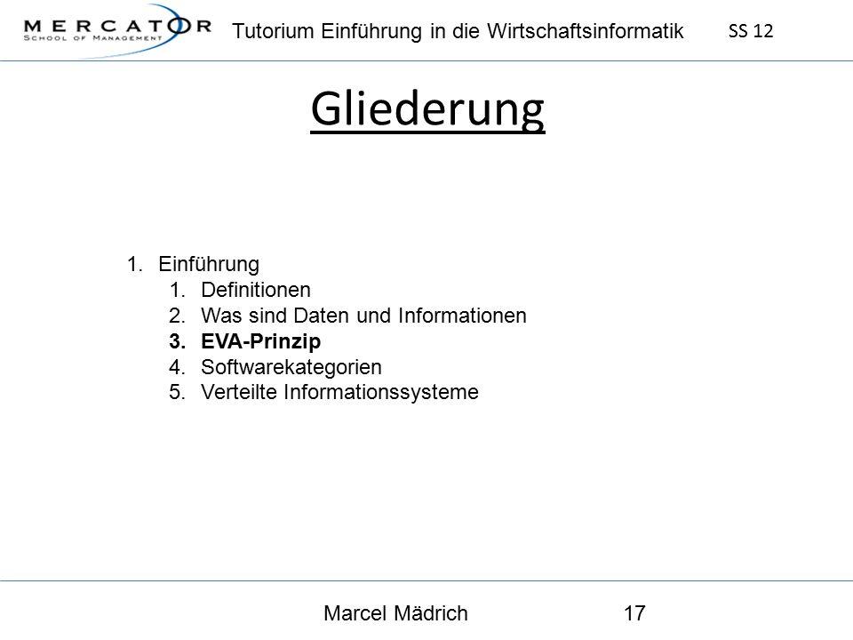 Tutorium Einführung in die Wirtschaftsinformatik SS 12 Marcel Mädrich17 Gliederung 1.Einführung 1.Definitionen 2.Was sind Daten und Informationen 3.EVA-Prinzip 4.Softwarekategorien 5.Verteilte Informationssysteme