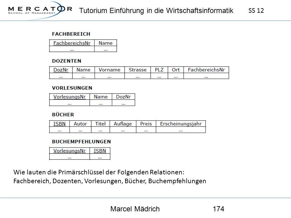 Tutorium Einführung in die Wirtschaftsinformatik SS 12 Marcel Mädrich174 Wie lauten die Primärschlüssel der Folgenden Relationen: Fachbereich, Dozenten, Vorlesungen, Bücher, Buchempfehlungen