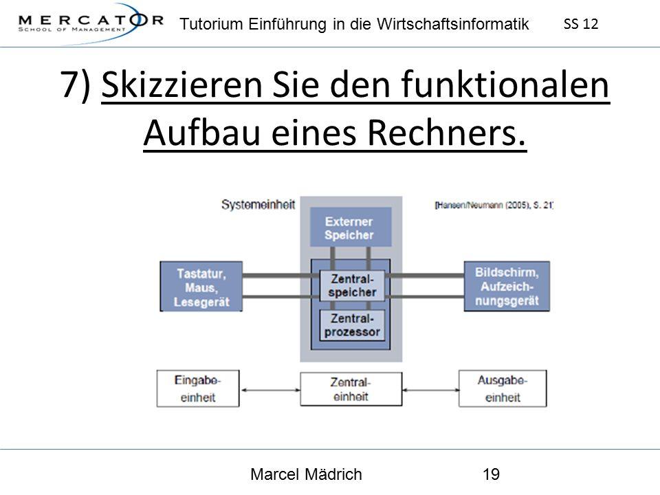 Tutorium Einführung in die Wirtschaftsinformatik SS 12 Marcel Mädrich19 7) Skizzieren Sie den funktionalen Aufbau eines Rechners.