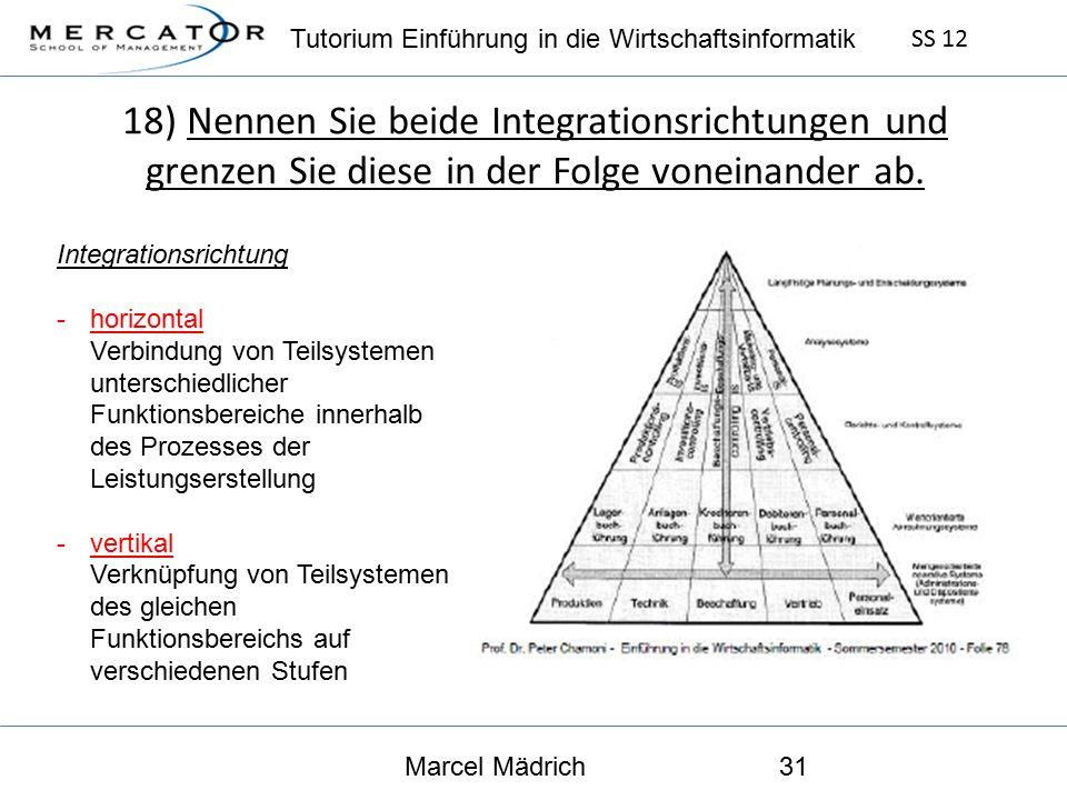 Tutorium Einführung in die Wirtschaftsinformatik SS 12 Marcel Mädrich31 18) Nennen Sie beide Integrationsrichtungen und grenzen Sie diese in der Folge voneinander ab.