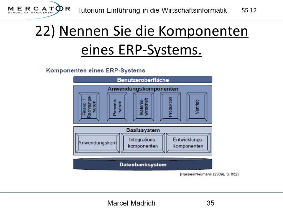 Tutorium Einführung in die Wirtschaftsinformatik SS 12 Marcel Mädrich35 22) Nennen Sie die Komponenten eines ERP-Systems.
