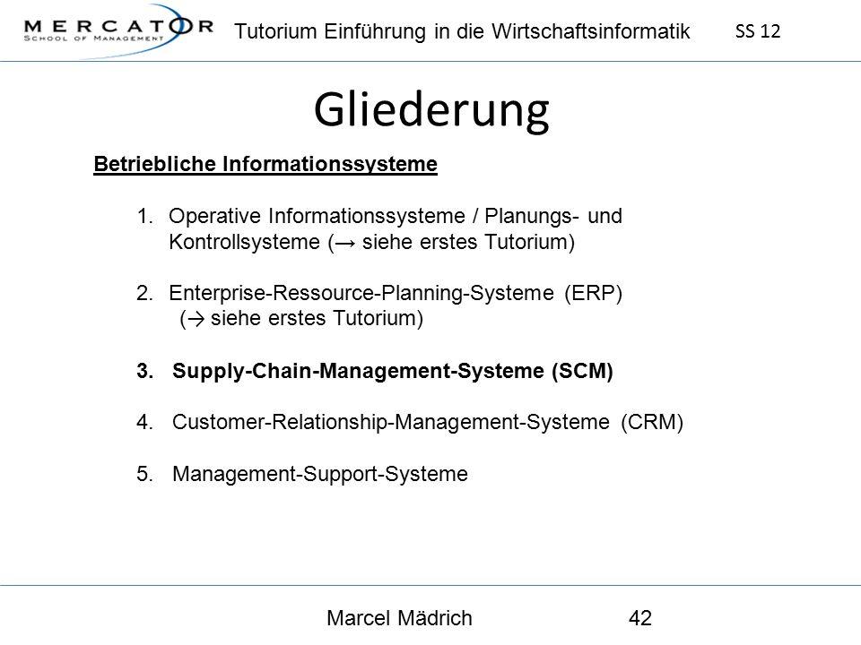 Tutorium Einführung in die Wirtschaftsinformatik SS 12 Marcel Mädrich42 Gliederung Betriebliche Informationssysteme 1.Operative Informationssysteme / Planungs- und Kontrollsysteme (→ siehe erstes Tutorium) 2.Enterprise-Ressource-Planning-Systeme (ERP) ( → siehe erstes Tutorium) 3.