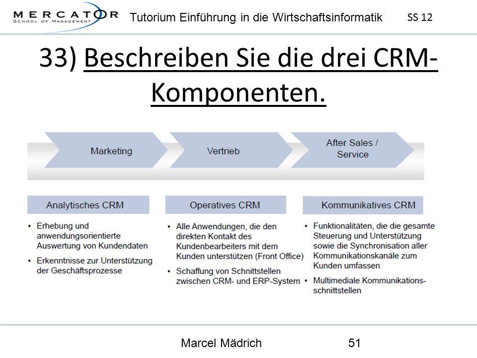 Tutorium Einführung in die Wirtschaftsinformatik SS 12 Marcel Mädrich51 33) Beschreiben Sie die drei CRM- Komponenten.
