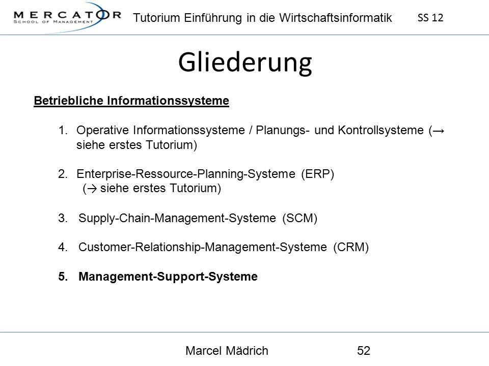 Tutorium Einführung in die Wirtschaftsinformatik SS 12 Marcel Mädrich52 Gliederung Betriebliche Informationssysteme 1.Operative Informationssysteme / Planungs- und Kontrollsysteme (→ siehe erstes Tutorium) 2.Enterprise-Ressource-Planning-Systeme (ERP) ( → siehe erstes Tutorium) 3.