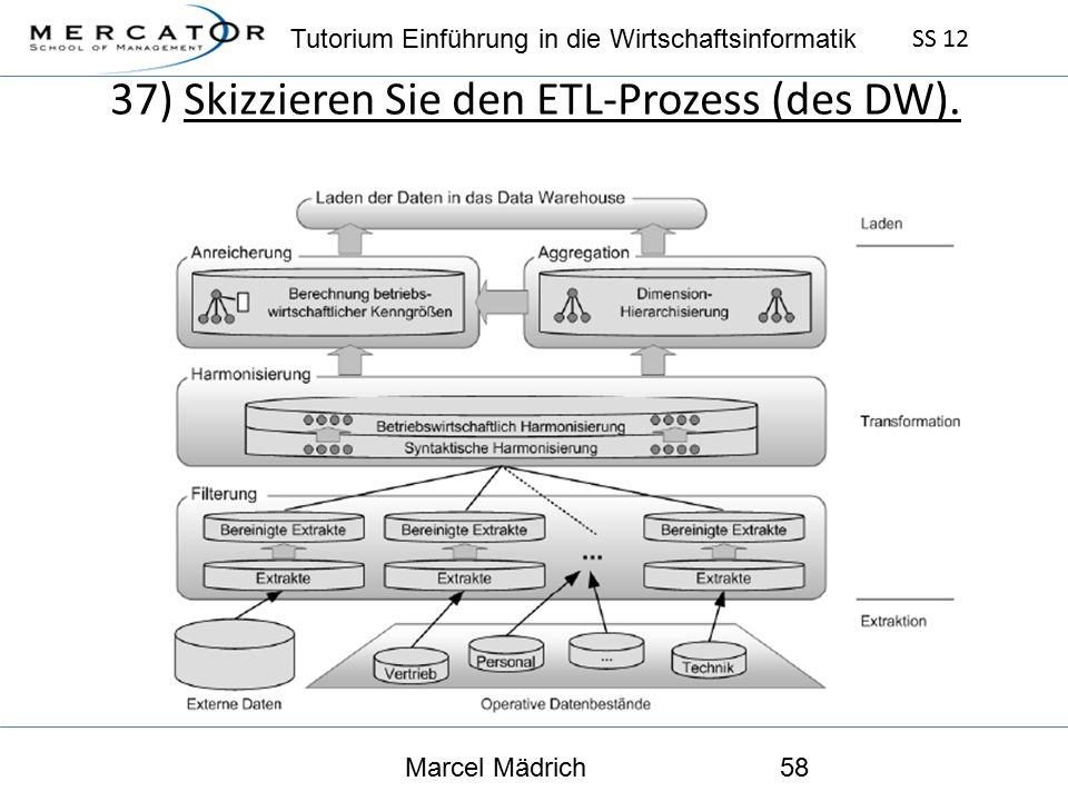 Tutorium Einführung in die Wirtschaftsinformatik SS 12 Marcel Mädrich58 37) Skizzieren Sie den ETL-Prozess (des DW).