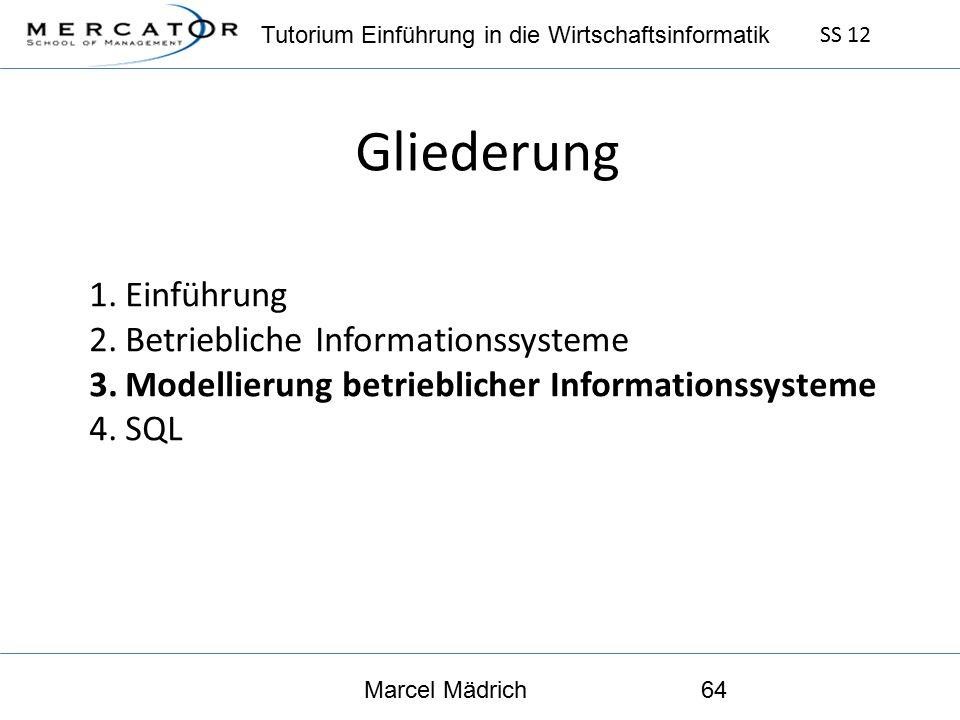 Tutorium Einführung in die Wirtschaftsinformatik SS 12 Marcel Mädrich64 Gliederung 1.Einführung 2.Betriebliche Informationssysteme 3.Modellierung betrieblicher Informationssysteme 4.SQL