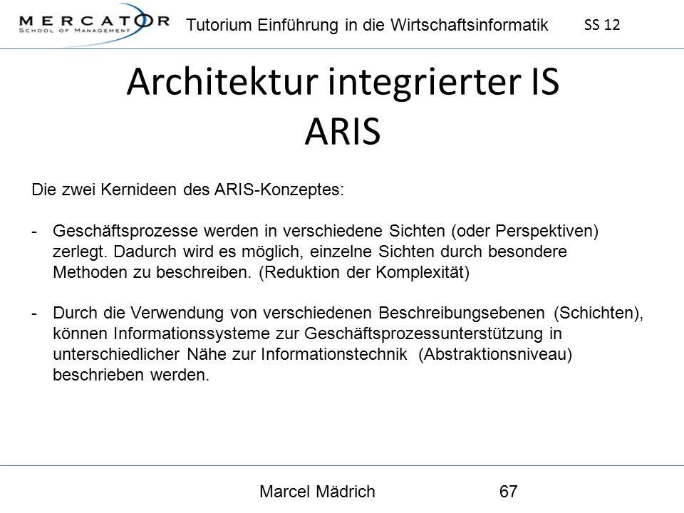 Tutorium Einführung in die Wirtschaftsinformatik SS 12 Marcel Mädrich67 Architektur integrierter IS ARIS Die zwei Kernideen des ARIS-Konzeptes: -Geschäftsprozesse werden in verschiedene Sichten (oder Perspektiven) zerlegt.