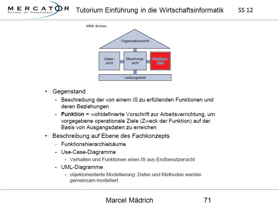 Tutorium Einführung in die Wirtschaftsinformatik SS 12 Marcel Mädrich71