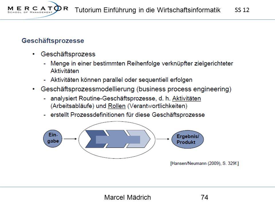 Tutorium Einführung in die Wirtschaftsinformatik SS 12 Marcel Mädrich74