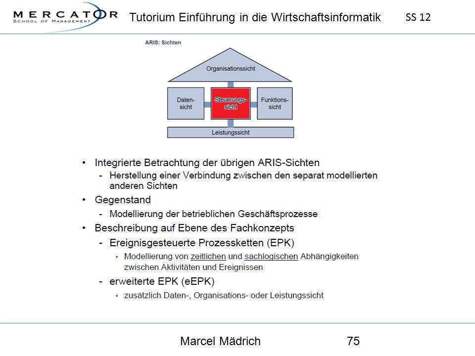 Tutorium Einführung in die Wirtschaftsinformatik SS 12 Marcel Mädrich75