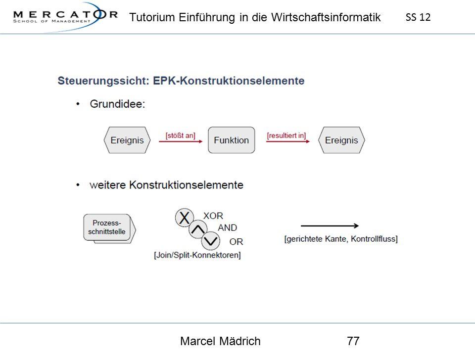 Tutorium Einführung in die Wirtschaftsinformatik SS 12 Marcel Mädrich77