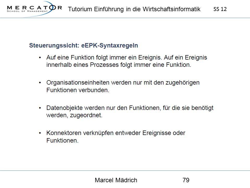 Tutorium Einführung in die Wirtschaftsinformatik SS 12 Marcel Mädrich79