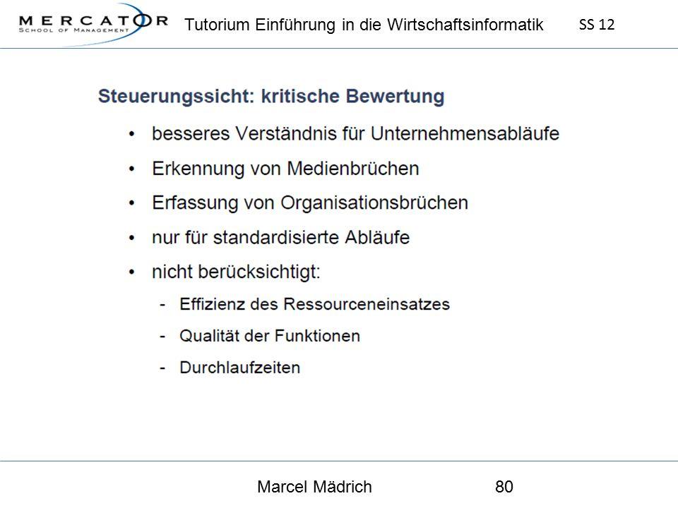 Tutorium Einführung in die Wirtschaftsinformatik SS 12 Marcel Mädrich80