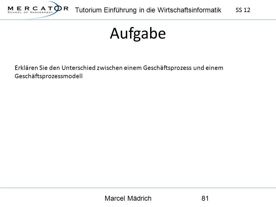 Tutorium Einführung in die Wirtschaftsinformatik SS 12 Marcel Mädrich81 Aufgabe Erklären Sie den Unterschied zwischen einem Geschäftsprozess und einem Geschäftsprozessmodell