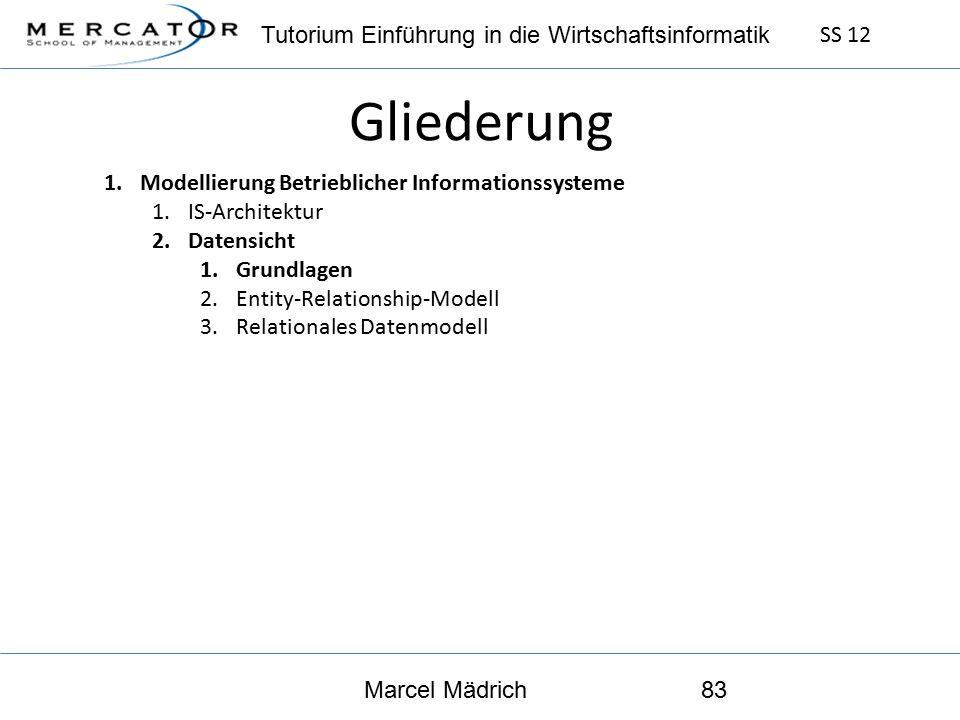 Tutorium Einführung in die Wirtschaftsinformatik SS 12 Marcel Mädrich83 Gliederung 1.Modellierung Betrieblicher Informationssysteme 1.IS-Architektur 2.Datensicht 1.Grundlagen 2.Entity-Relationship-Modell 3.Relationales Datenmodell