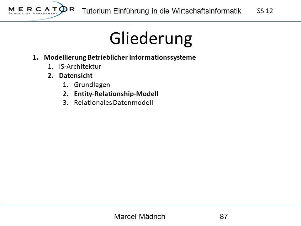 Tutorium Einführung in die Wirtschaftsinformatik SS 12 Marcel Mädrich87 Gliederung 1.Modellierung Betrieblicher Informationssysteme 1.IS-Architektur 2.Datensicht 1.Grundlagen 2.Entity-Relationship-Modell 3.Relationales Datenmodell