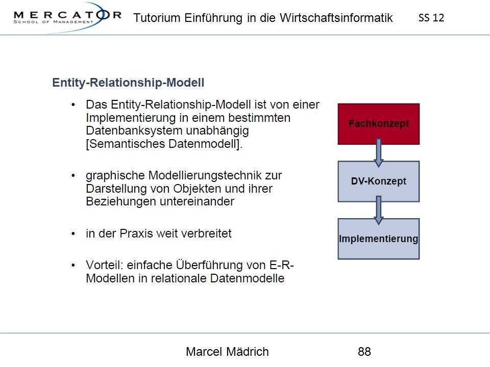 Tutorium Einführung in die Wirtschaftsinformatik SS 12 Marcel Mädrich88