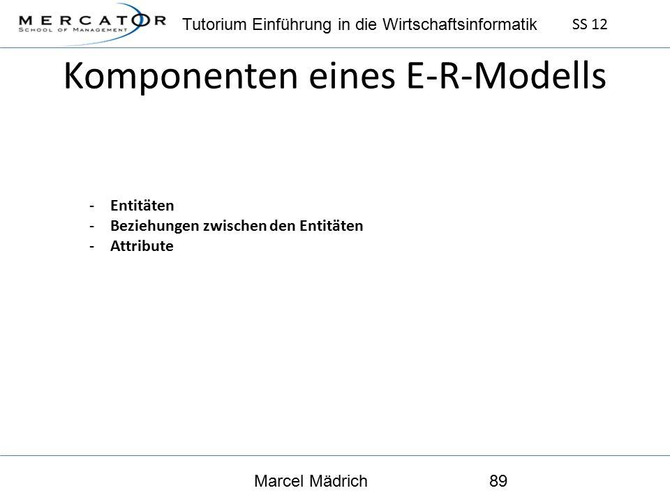 Tutorium Einführung in die Wirtschaftsinformatik SS 12 Marcel Mädrich89 Komponenten eines E-R-Modells -Entitäten -Beziehungen zwischen den Entitäten -Attribute