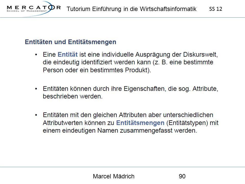 Tutorium Einführung in die Wirtschaftsinformatik SS 12 Marcel Mädrich90