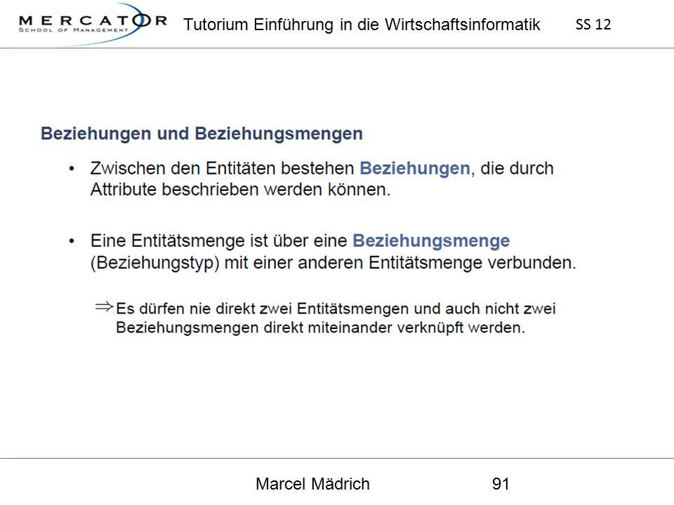 Tutorium Einführung in die Wirtschaftsinformatik SS 12 Marcel Mädrich91