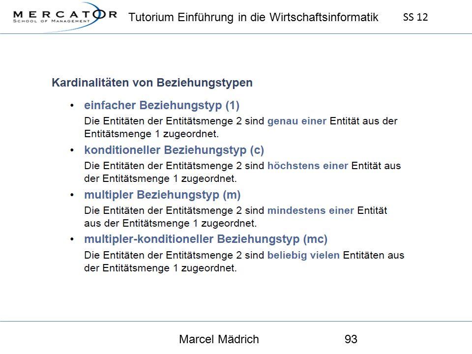 Tutorium Einführung in die Wirtschaftsinformatik SS 12 Marcel Mädrich93