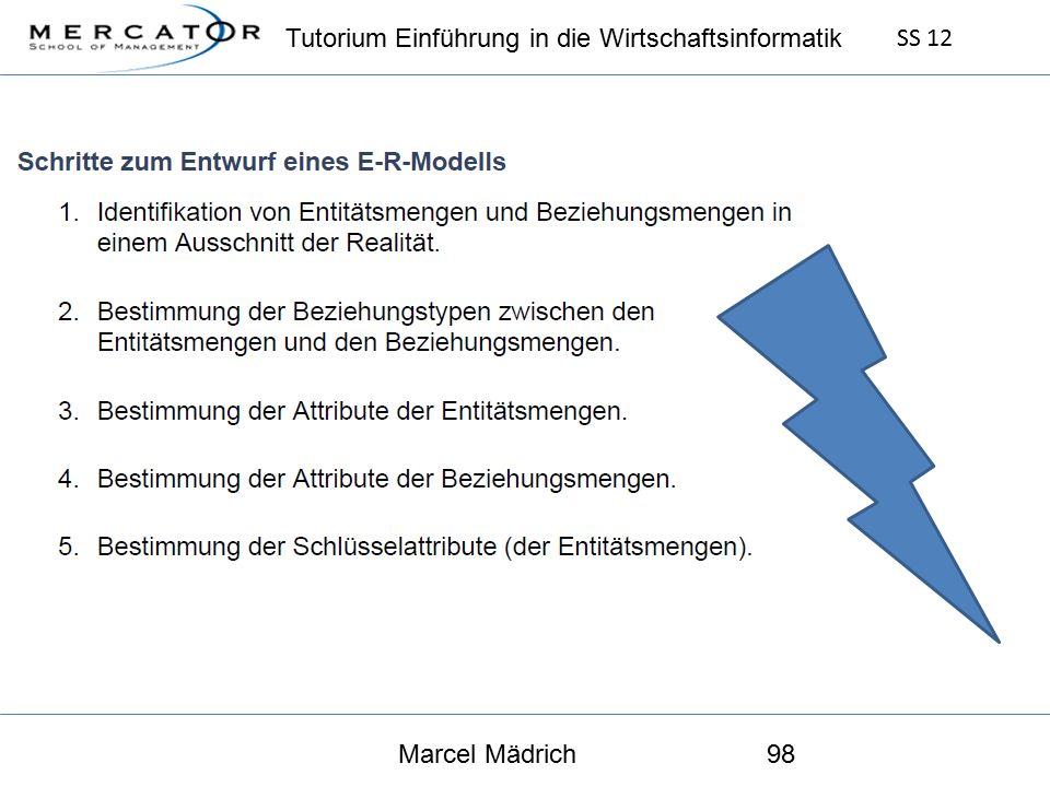 Tutorium Einführung in die Wirtschaftsinformatik SS 12 Marcel Mädrich98