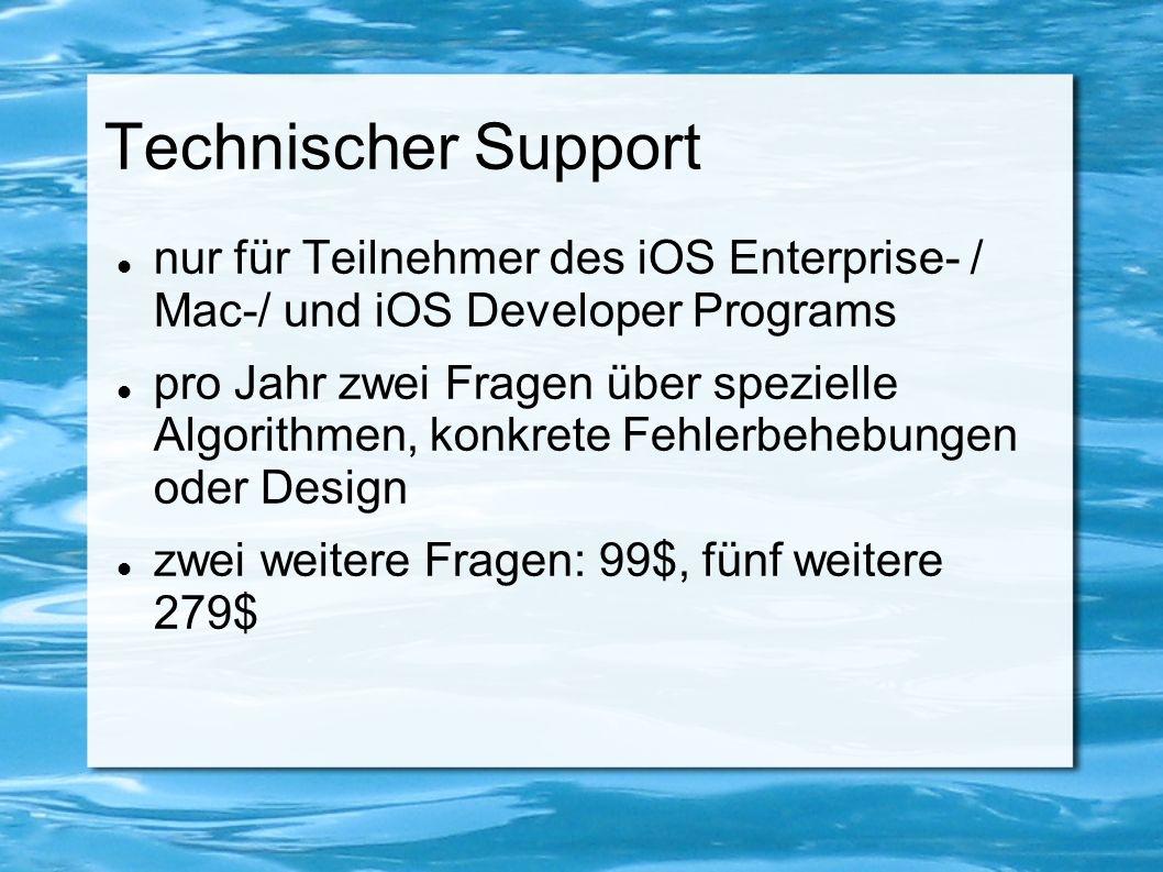 Technischer Support nur für Teilnehmer des iOS Enterprise- / Mac-/ und iOS Developer Programs pro Jahr zwei Fragen über spezielle Algorithmen, konkret