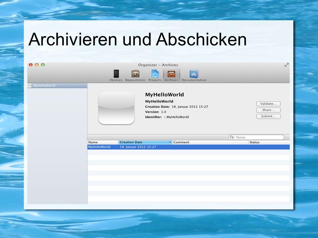 Archivieren und Abschicken