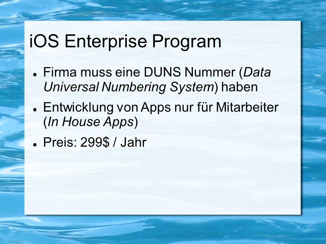 Development- /Distribution Profile Zusammensetzung von Development- /Distribution Zertifikat und App ID Development Zertifikat muss auf Testgeräten installiert werden um App installieren zu können Distribution Zertifikat für Verbreitung im App Store