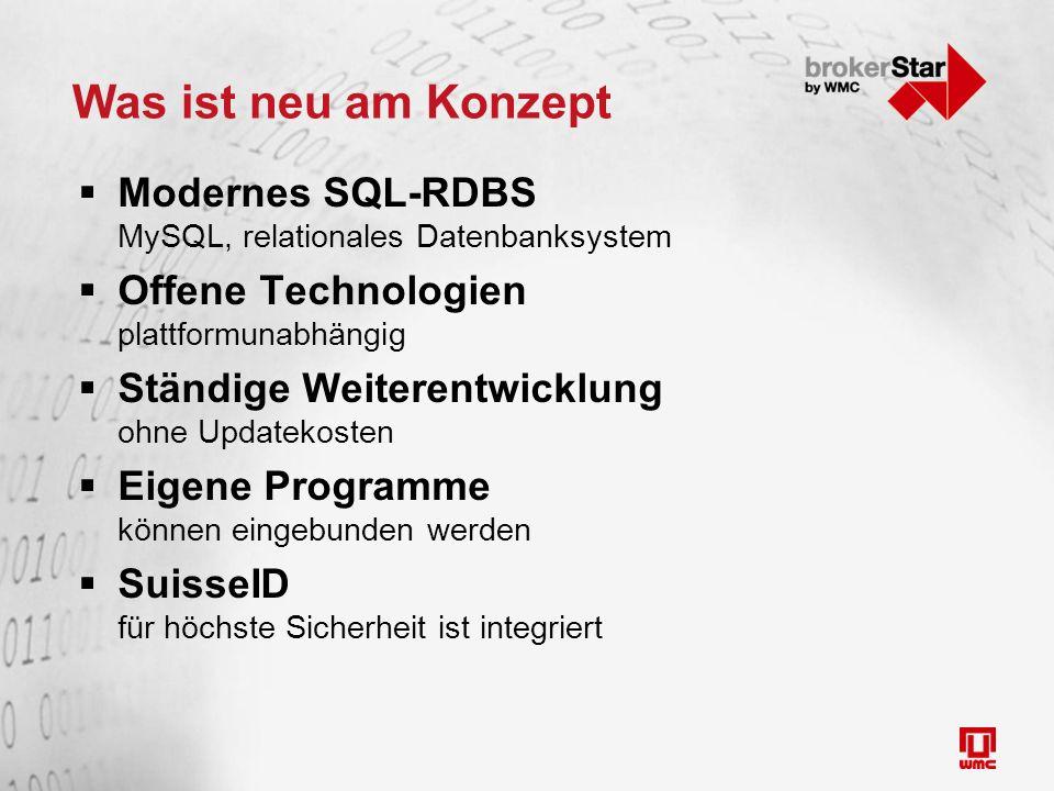 Was ist neu am Konzept  Modernes SQL-RDBS MySQL, relationales Datenbanksystem  Offene Technologien plattformunabhängig  Ständige Weiterentwicklung ohne Updatekosten  Eigene Programme können eingebunden werden  SuisseID für höchste Sicherheit ist integriert