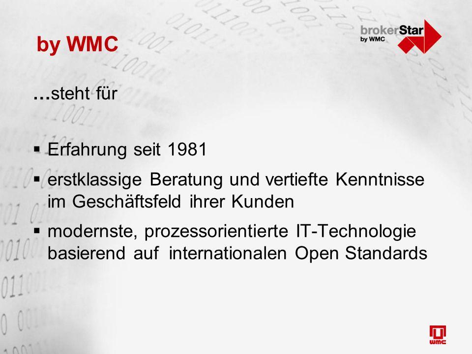 by WMC …steht für  Erfahrung seit 1981  erstklassige Beratung und vertiefte Kenntnisse im Geschäftsfeld ihrer Kunden  modernste, prozessorientierte IT-Technologie basierend auf internationalen Open Standards