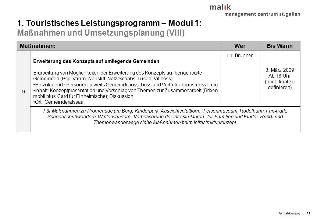 © malik-mzsg11 Maßnahmen:WerBis Wann 9 Erweiterung des Konzepts auf umliegende Gemeinden Erarbeitung von Möglichkeiten der Erweiterung des Konzepts auf benachbarte Gemeinden (Bsp.
