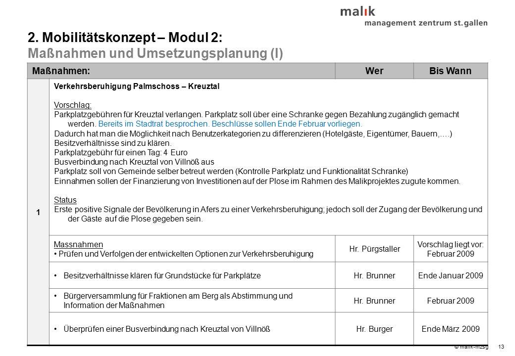 13© malik-mzsg Maßnahmen:WerBis Wann 1 Verkehrsberuhigung Palmschoss – Kreuztal Vorschlag: Parkplatzgebühren für Kreuztal verlangen.