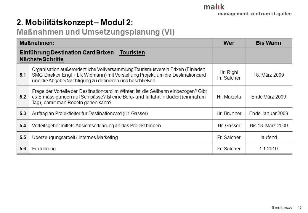 18© malik-mzsg Maßnahmen:WerBis Wann Einführung Destination Card Brixen – Touristen Nächste Schritte 5.1 Organisation außerordentliche Vollversammlung Tourismusverein Brixen (Einladen SMG Direktor Engl + LR Widmann) mit Vorstellung Projekt, um die Destinationcard und die Abgabe/Nächtigung zu definieren und beschließen.