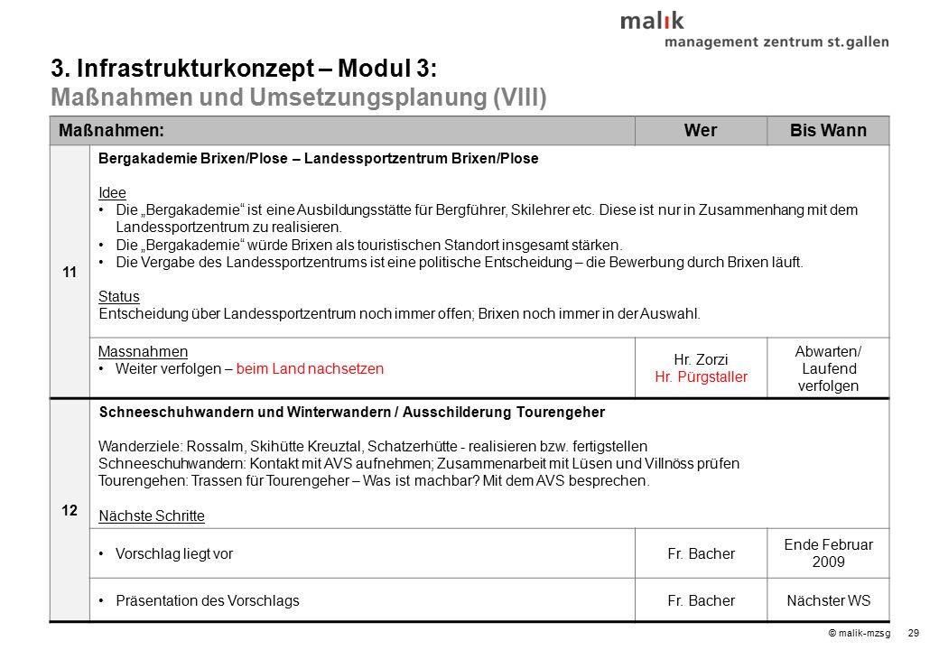 """29© malik-mzsg Maßnahmen:WerBis Wann 11 Bergakademie Brixen/Plose – Landessportzentrum Brixen/Plose Idee Die """"Bergakademie ist eine Ausbildungsstätte für Bergführer, Skilehrer etc."""