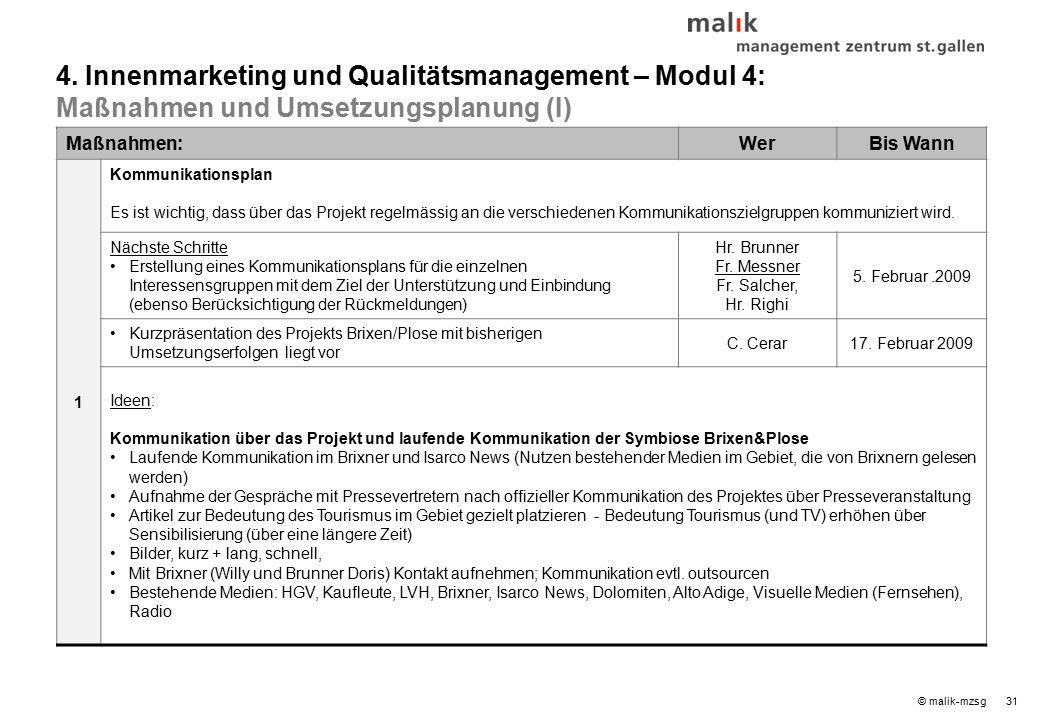 31© malik-mzsg Maßnahmen:WerBis Wann 1 Kommunikationsplan Es ist wichtig, dass über das Projekt regelmässig an die verschiedenen Kommunikationszielgruppen kommuniziert wird.