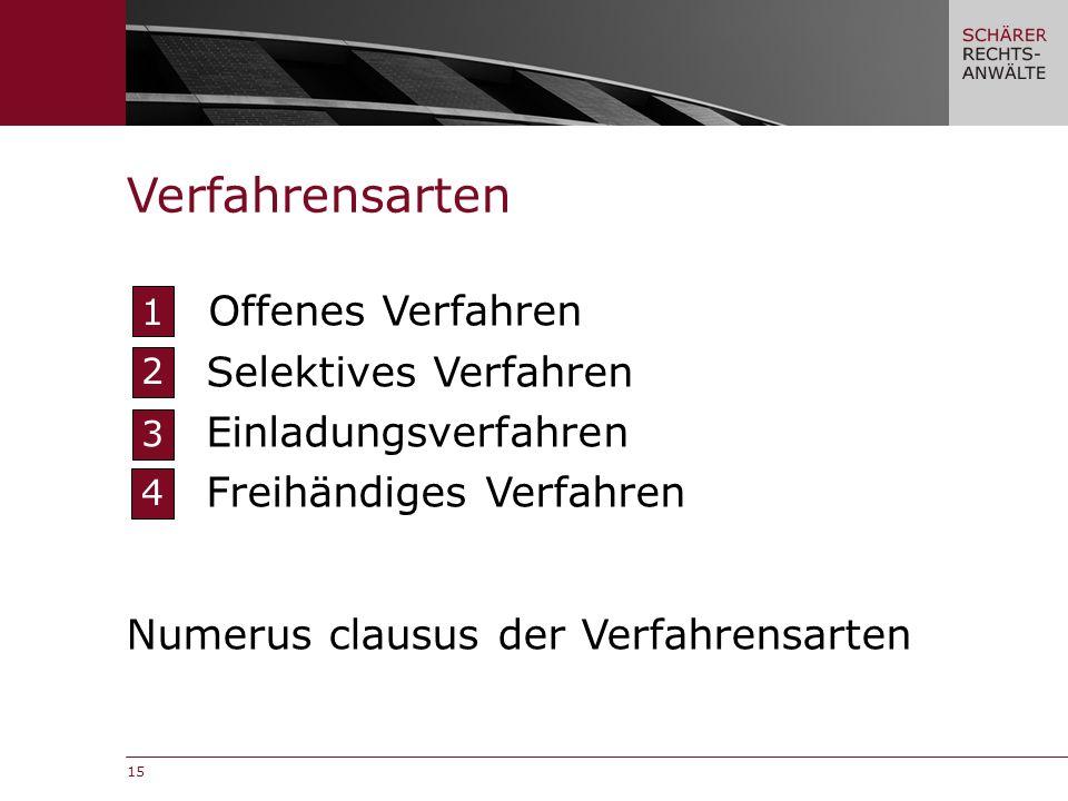 15 Offenes Verfahren Selektives Verfahren Einladungsverfahren Freihändiges Verfahren Verfahrensarten 1 2 3 4 Numerus clausus der Verfahrensarten