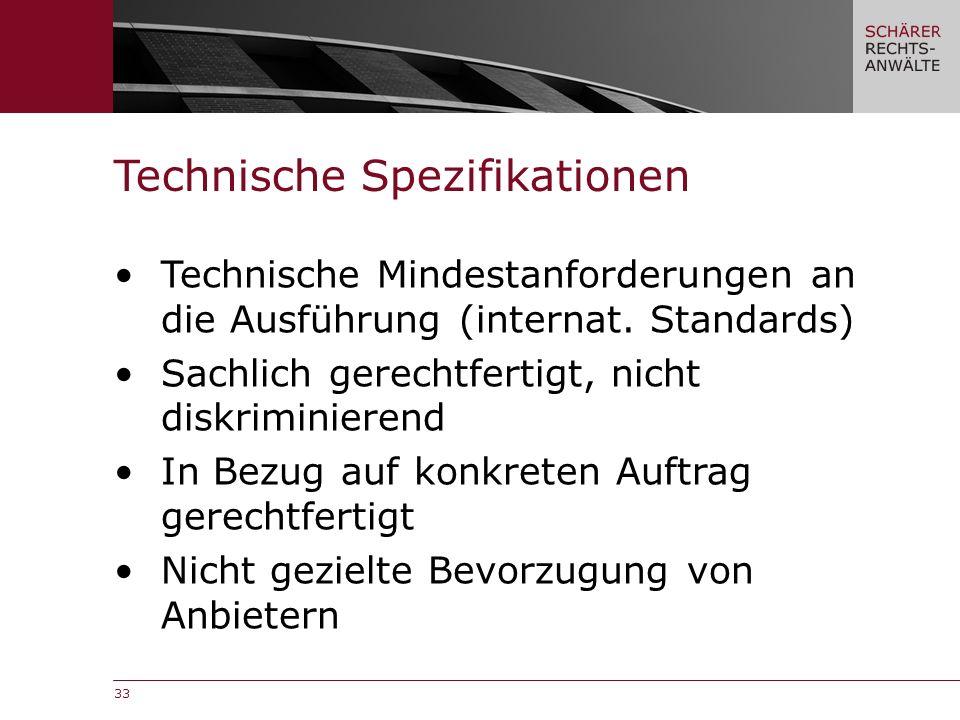 33 Technische Mindestanforderungen an die Ausführung (internat.