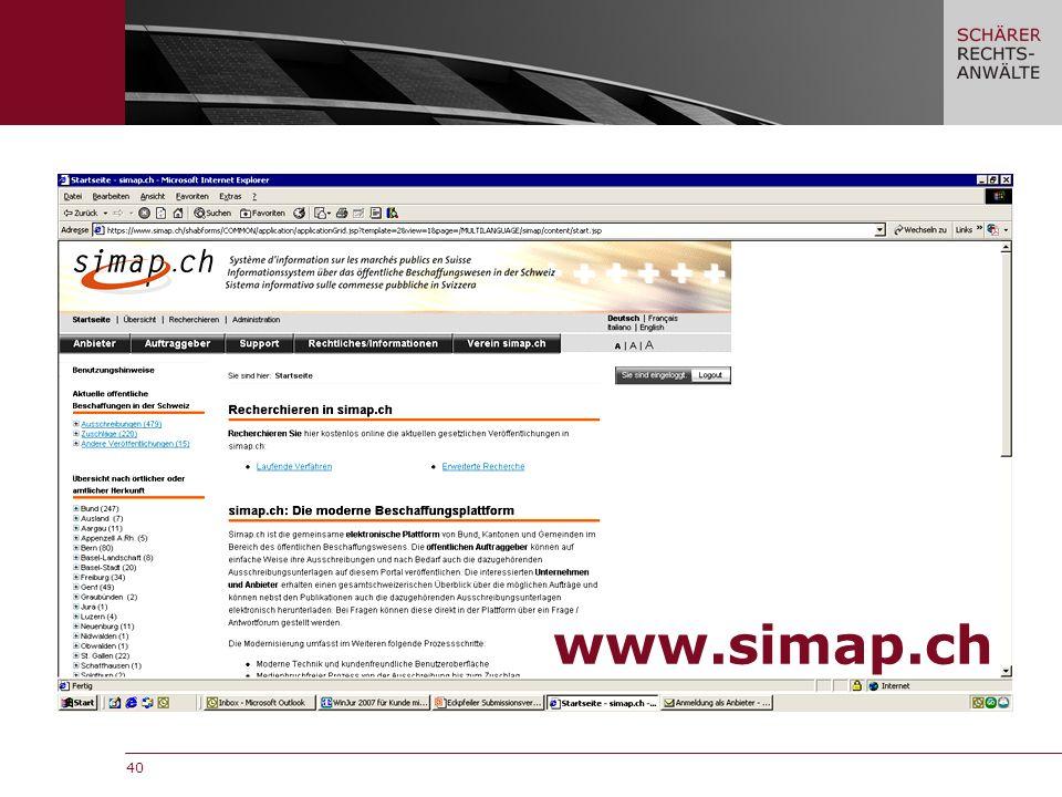 40 www.simap.ch