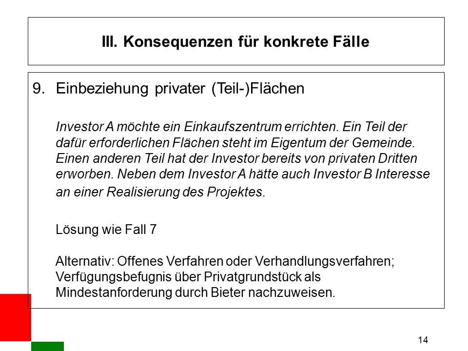 14 III. Konsequenzen für konkrete Fälle 9. Einbeziehung privater (Teil-)Flächen Investor A möchte ein Einkaufszentrum errichten. Ein Teil der dafür er